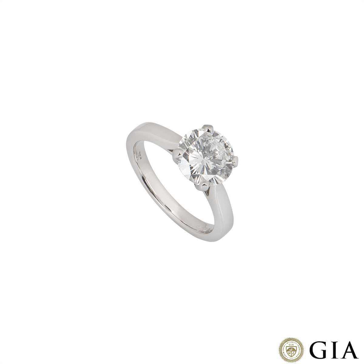 White Gold Round Brilliant Cut Diamond Ring 2.08ct E/VVS2